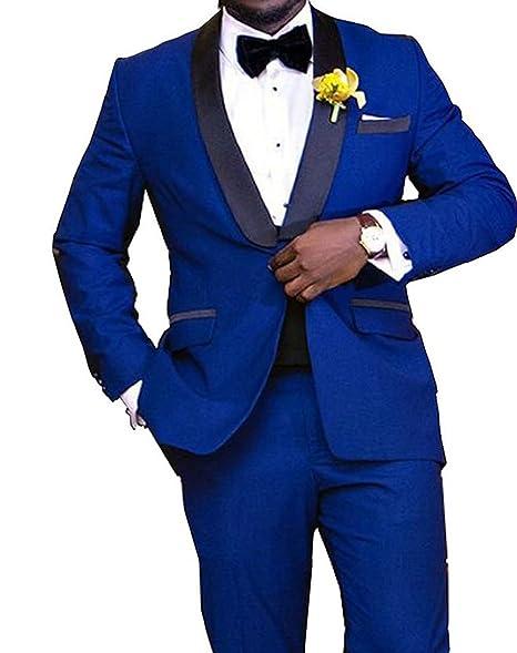 Amazon.com: loveetoo Royal azul hombre traje novio Tuxedos ...