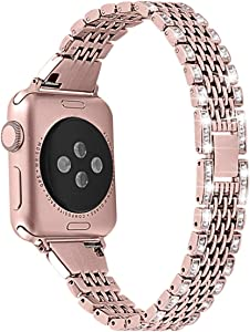 Mtozon Bling Bands Compatible with Apple Watch Series 6/5/4/3/2/1 40mm/38mm iwatch Slim Bands for Women, Metal Dressy Jewelry Bracelet Luxurious Wristband, Rose Gold