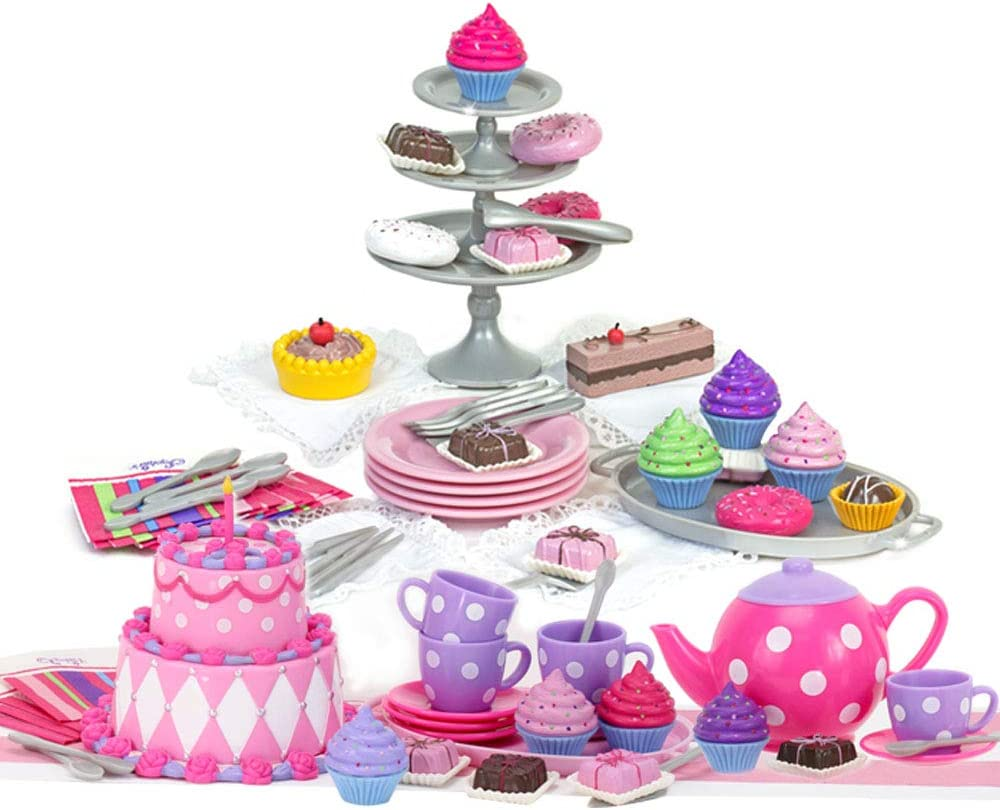 Sophia's 18 Inch Doll Tea Party & Dessert Food Set, Two Complete Doll Food Play Sets for Your Favorite 18 Inch Doll | Includes 64 Pieces of Pretend Doll Food & Accessories