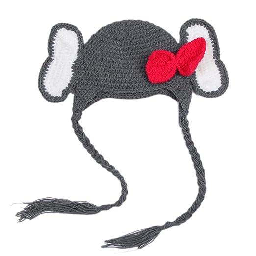 e99f7f37381 BIBITIME Knit Elephant Hat With Ears Bowknot Beanie Earflap Braid Cap Baby  Kid (0-