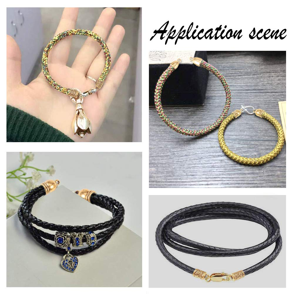 PH PandaHall 78 pcs 8 Styles Alloy Tibetan Style Leather Cord End Cap Metal Bead Tube Barrel Loop Clasp for Earring Bracelet Jewelry DIY Craft Making Antique Golden