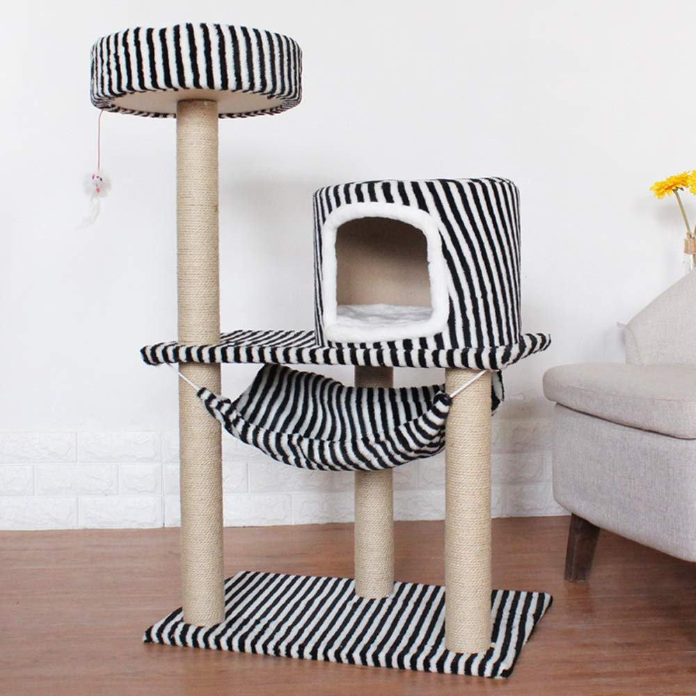 Black and white stripes DS- Pet toys Cat Tree Cat Climbing Grinding Cat House Four Seasons Universal Small Multilayer Springboard-8 colors Optional && (color   Black and White Stripes)