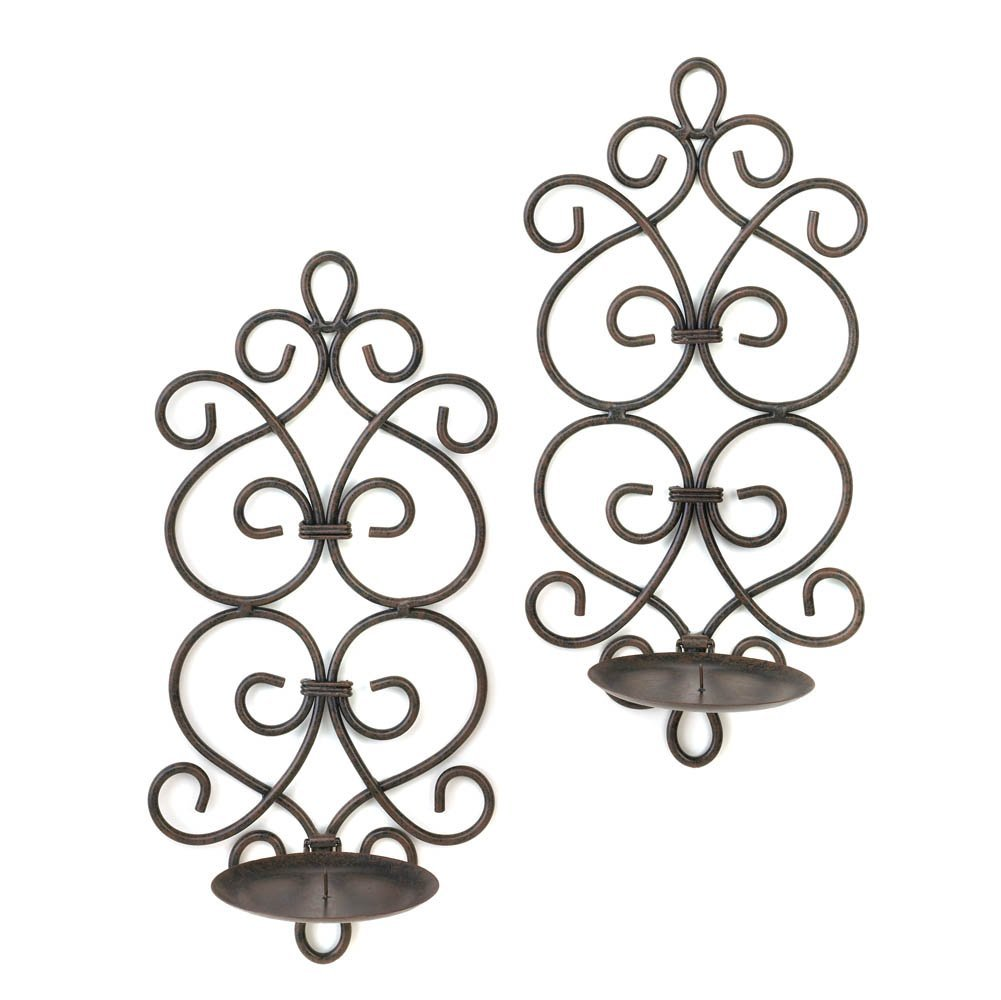 Candle Sconces Wall Decor, Decorative Metallic Wall Sconce, Scrollwork Sconces (Sold by Case, Pack of 8)