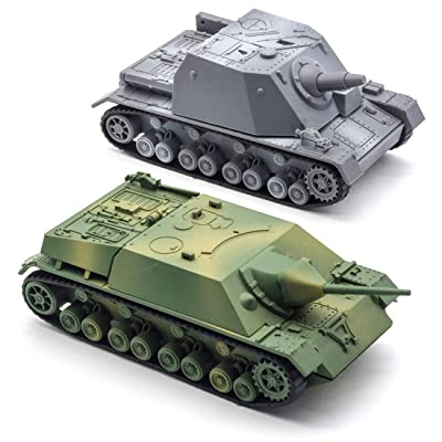 Kvvdi 2 Sets 1/72 Scale Model Tanks Kits to Build, Upgrade 3D Puzzle Plastic Military Tank Models Sturmpanzer and Jagdpanzer IV(Gray Or Green): Toys & Games