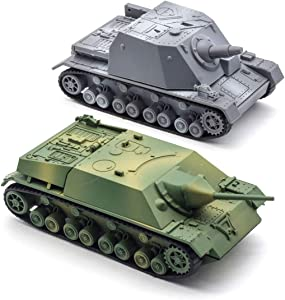 Kvvdi 2 Sets 1/72 Scale Model Tanks Kits to Build, Upgrade 3D Puzzle Plastic Military Tank Models Sturmpanzer and Jagdpanzer IV(Gray Or Green)