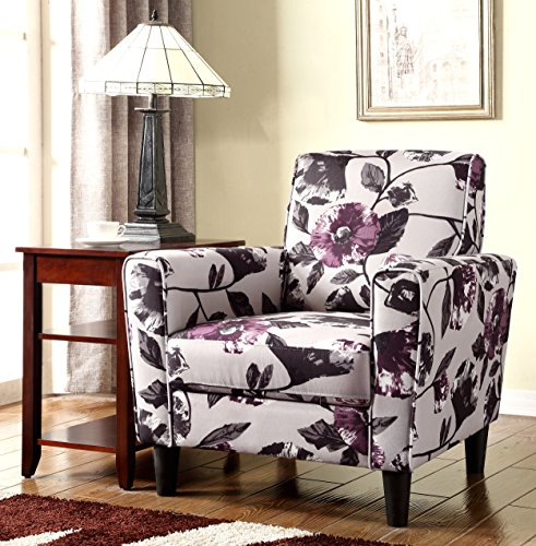 Container Furniture Direct Gilbert Collection Modern Floral Print Pattern Upholstered Living Room Accent Chair, Purple/White