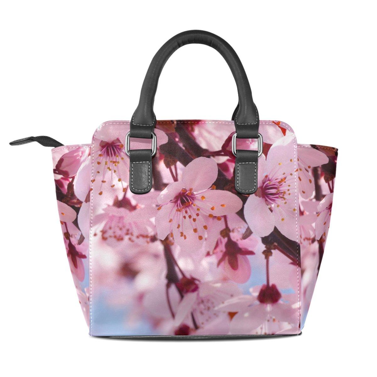 Jennifer PU Leather Top-Handle Handbags Pink Cherry Blossom Flowers Single-Shoulder Tote Crossbody Bag Messenger Bags For Women