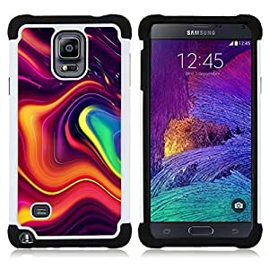 GIFT CHOICE / Defensor Cubierta de protección completa Flexible TPU Silicona + Duro PC Estuche protector Cáscara Funda Caso / Combo Case for Samsung Galaxy Note 4 SM-N910 // Modern Art Flowing Shapes Colorful //