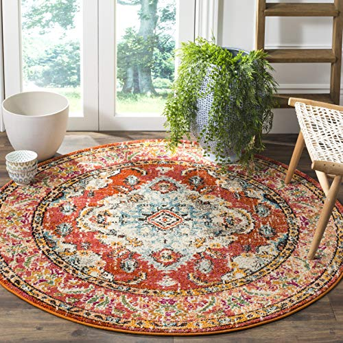 - Safavieh Monaco Collection MNC243H Vintage Oriental Orange and Light Blue Distressed Round Area Rug (5' in Diameter)