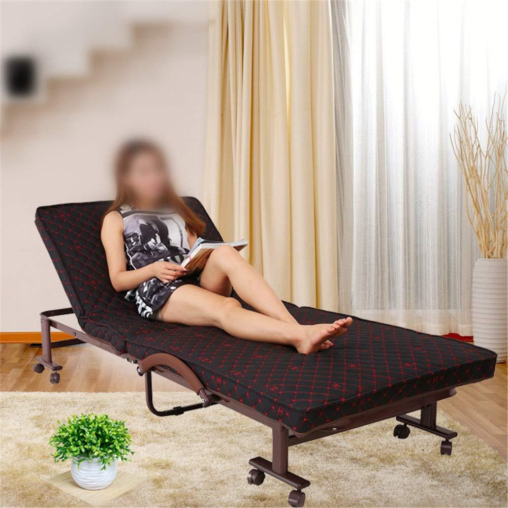 Vobajf Klappbett Faltbare Bett mit Matratze Multifunktionsschlafsofa Adjustable Guest Bed tragbare einfach Freizeit Lehnstuhl zu Falten Bettrahmen (Farbe : Black, Size : 65x190X38cm)