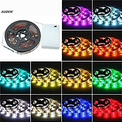 AUDEW 6.6ft RGB 5050 SMD 60 LED Strip Lights with Battery Box Waterproof Craft Hobby Light 14.4W 200cm