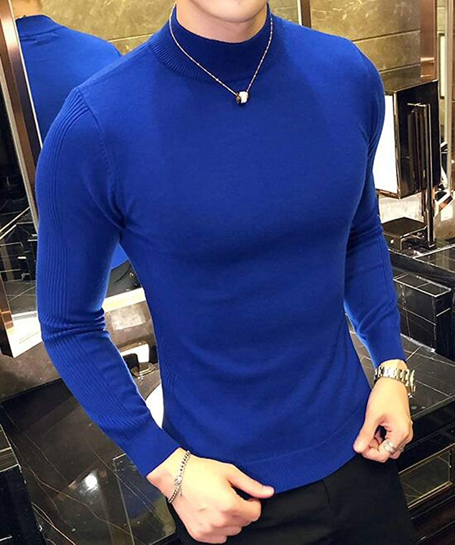 Etecredpow Men Pullover Casual Knit Jumper Turtle Neck Top Sweaters
