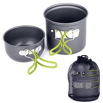 bensports al aire libre estufa de Camping batería de cocina Picnic de senderismo mochileros cocinar conjunto de herramientas olla de aluminio cacerola ...