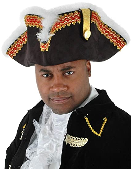 Men's British Gov'nah Pirate Captain Tricorn Hat with Red and Gold Braid Trim Accented with White Boa Feathers by Elope