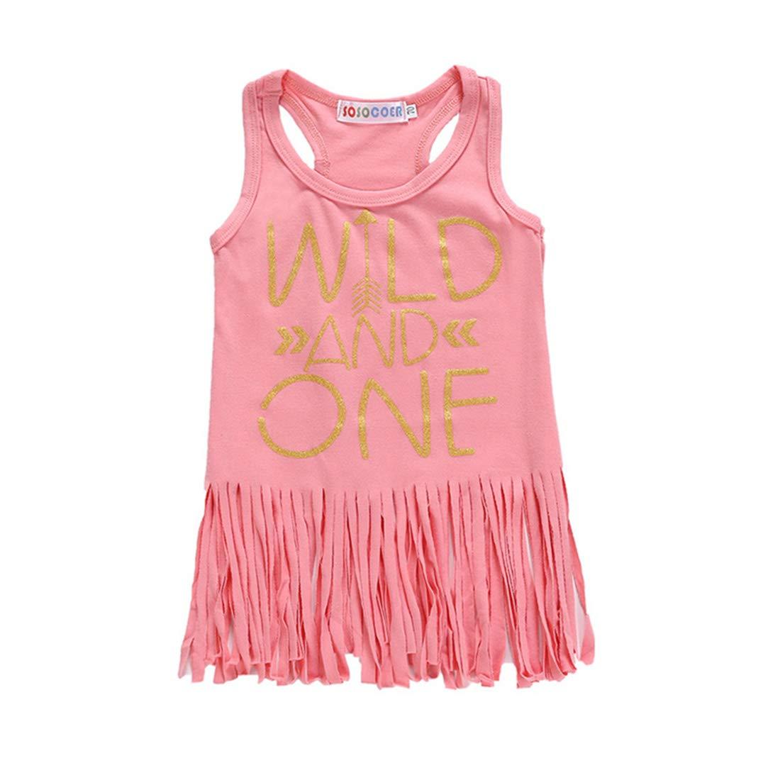 XINXINHAIHE Infant Girls Tassel Letter Print Vest Dress Summer Casual Sleeveless Skirt