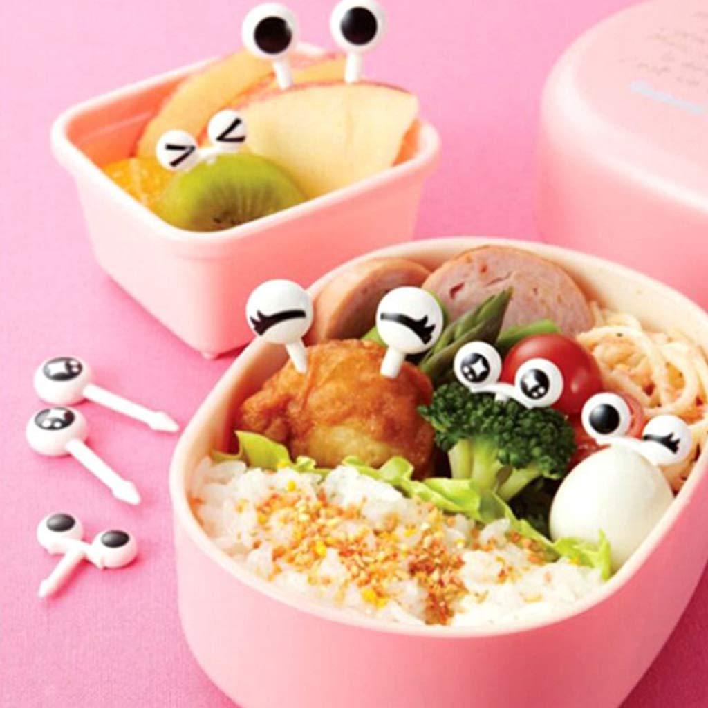 jiheousty 10 Teile//los Mini Spie/ße Niedlichen Cartoon Augen Kawaii Emoji Mittagessen Bento Box Lebensmittel Obst Picks Gabel Sticks Buffet Sandwich Topper Dekoration