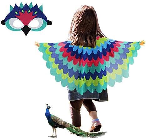 YHUA disfraz de pavo real para niños, disfraz de capa de alas para ...