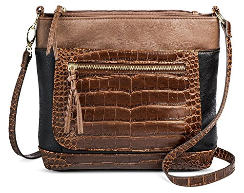 Bueno Women's Faux Leather Colorblock Crossbody Bag (Dark Taupe/Black/Brown)