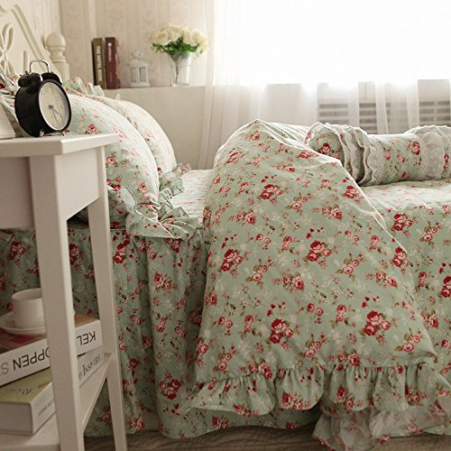 Swanlake Shabby and Elegant Roses Garden Ruffles Bed Skirt Duvet Cover Bedding Set