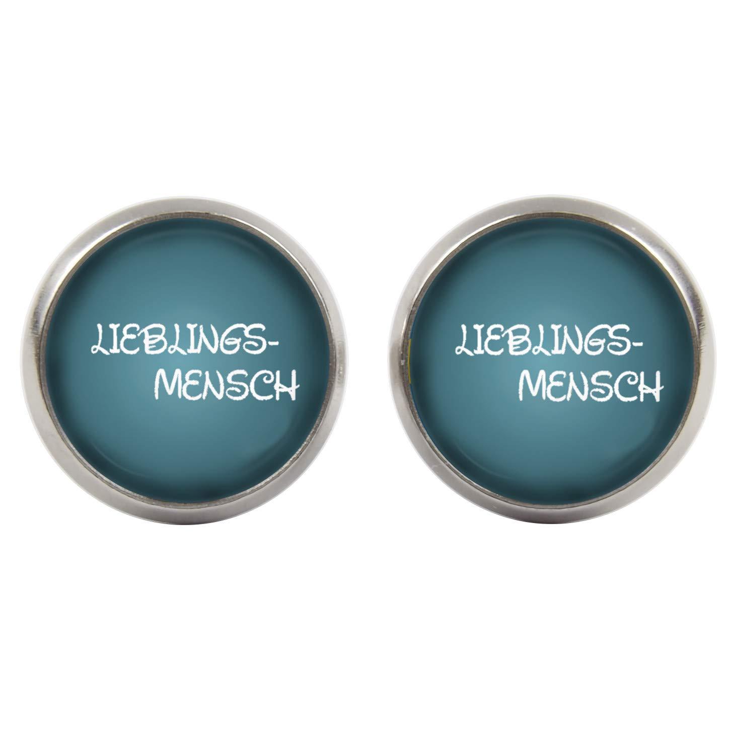 Handgemacht Cabochons -Lieblingsmensch Schriftzug blau wei/ß versilberte Fassung 14mm Ohrstecker