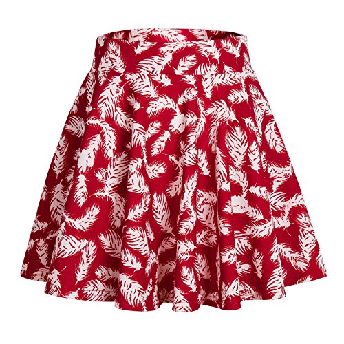 Urban CoCo Women's Casual Stretchy Printed Flared Pleated Mini Skater Skirt (S, 2)