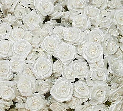 144 Diorröschen Satinröschen Rosen Hochzeit Weiß Stoffrosen Röschen Bastel- & Künstlerbedarf Blumen, Blüten & Girlanden