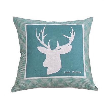 Amazon.com: Cojín de lino y algodón para decoración del ...