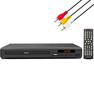 LONPOO DVD Player for TV, All Region Free DVD CD Discs Player with AV Output (NO HDMI Port), Built-in PAL/NTSC, Supports USB, Remote Control