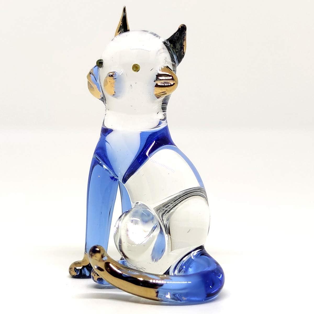 Blown Glass Art Figurine Animal Small Yellow and Brown Kitten CAT