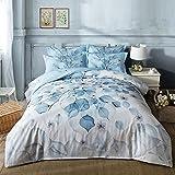 Newrara Flower Bedding Set Blooming white Flowers Printed Cotton 4-Piece Bedding Sets/Duvet Covers set, Not Include Comforter (Full, Light Blue)