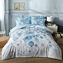 Newrara Flower Bedding Set Blooming white Flowers Printed Cotton 4-Piece Bedding Sets/Duvet Covers set, Not Include Comforter (Full, Light Blue)