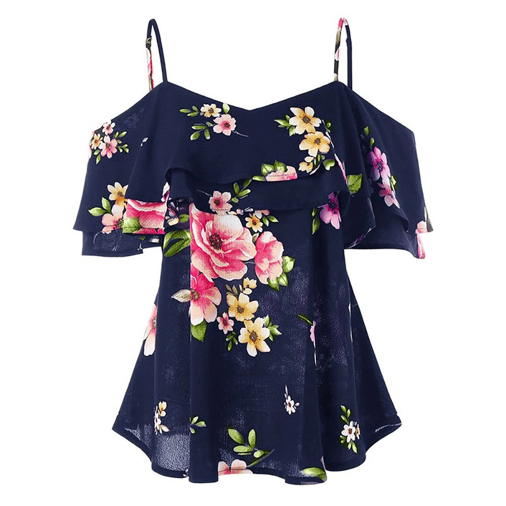 Women Floral Printing Off Shoulder Shirt Sleeveless Vest Tank Top Knitted Hat Cami Strapless Blouse Navy