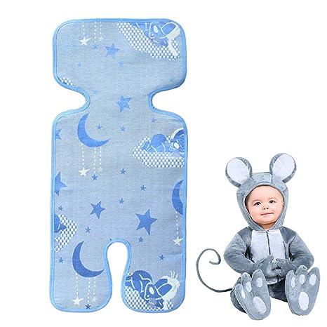 Colchoneta para Cochecitos,Asiento de Verano universal para cochecitos/capazos de bebé/carritos/sillas de paseo seda del hielo fresco transpirable ...