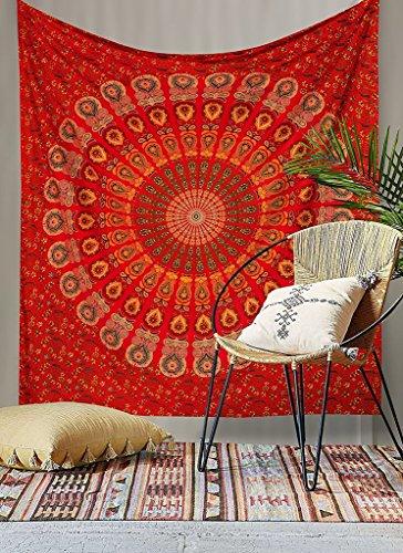 Red Peacock Mandala Tapestry Dorm Decor Hippie Wall Hanging Tapestries Bedding Bohemian Throw Bedspread Bed Cover Hippie Wall Tapestry Picnic Blanket Beach Towel by Jaipur Handloom by Jaipur Handloom (Image #4)