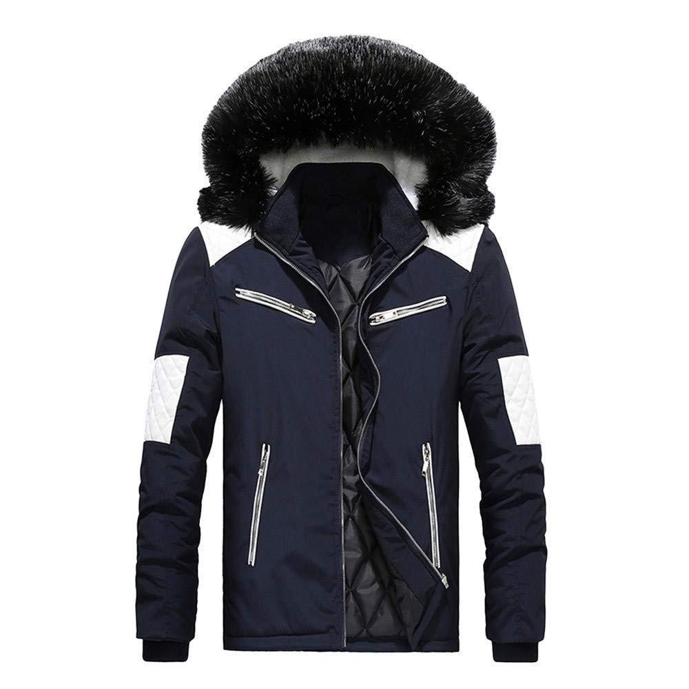 Men Coat,Men Boys Casual Warm Stand Collar Slim Winter Zip Coat Outwear Jacket Top Blouse(2XL,Blue)