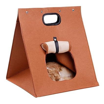 aimdonr Portable Pet cama gato gatito mascotas Casa 2 en 1 Cálido Pet cama Caseta/