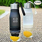 2-in-1 Infuser Water Bottle,CLINE Sport Water Bottles BPA Free Gym Water Bottle 22oz Leakproof with Fruit Lemon Squeezer,2 Pack (Black+White)