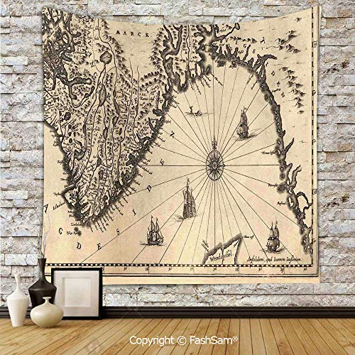 (FashSam Tapestry Wall Hanging Ancient Map of Southern Part of The Norway Vikings World Old Scandinavian Lands Print Tapestries Dorm Living Room Bedroom(W39xL59))