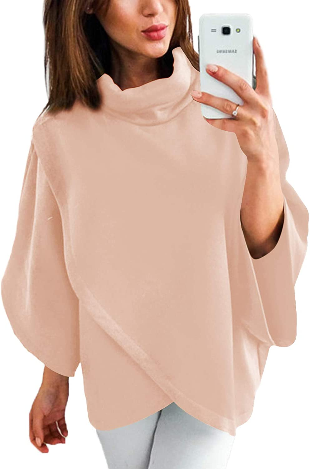 YOINS Outwear Capes Turtleneck Poncho for Women Chimney Collar Flared 3/4 Sleeves Irregular Hem Pullover Sweaters Pink Large