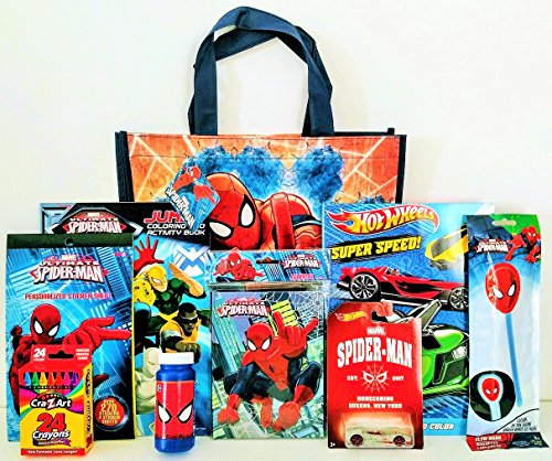 [The Amazing Spider-Man Coloring & Activity Gift Set with Reusable Tote Bag, Spider-Man Hot Wheel, Coloring Book & More!] (Captain America Movie Treat Bag)