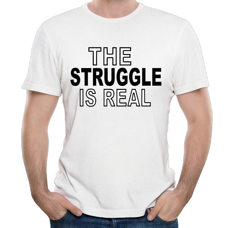 Maria White Men's O-neck Shirts The Struggle Is Real Logo