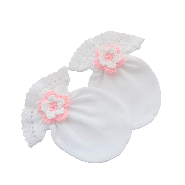 0-3 mesi /… 100/% cotone jersey neonato antigraffio guanti di festa bianco cotone Lace uncinetto fiore fatto a mano