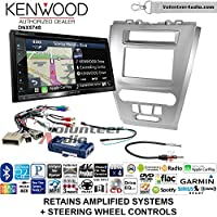 Volunteer Audio Kenwood DNX574S Double Din Radio Install Kit with GPS Navigation Apple CarPlay Android Auto Fits 2010-2012 Fusion (Silver) (Retains steering wheel controls)
