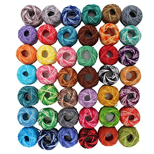 Cotton Yarn Crochet Patterns (42 Pack Crochet Cotton Yarn Thread by Kurtzy- Stripy Design in An Assortment of Colors - Threads for Patterns, Projects and Applique - 5 Grams - 47.5 Yards of Thread Material)