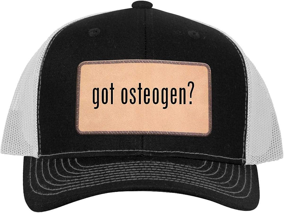 Leather Light Brown Patch Engraved Trucker Hat One Legging it Around got Osteogen?