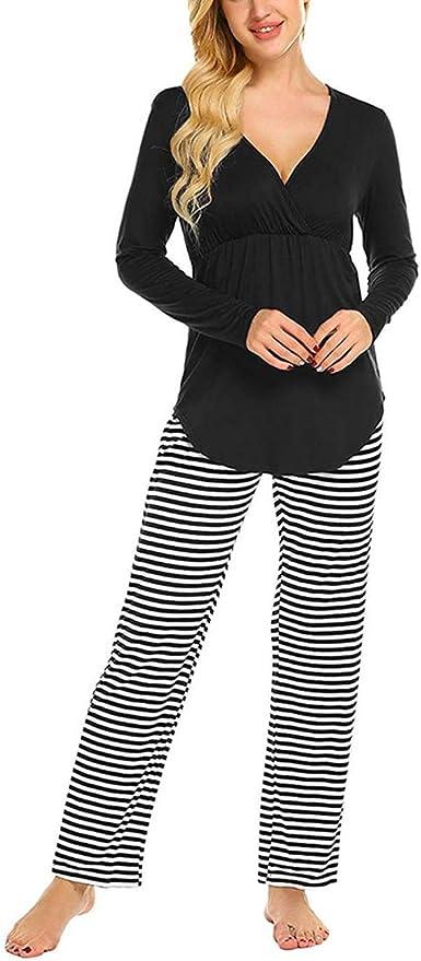 Pijama de Lactancia Dos Piezas Ropa Premamá Invierno Pijamas Embarazada Manga Larga Algodon Top y Pantalones Conjunto Maternidad