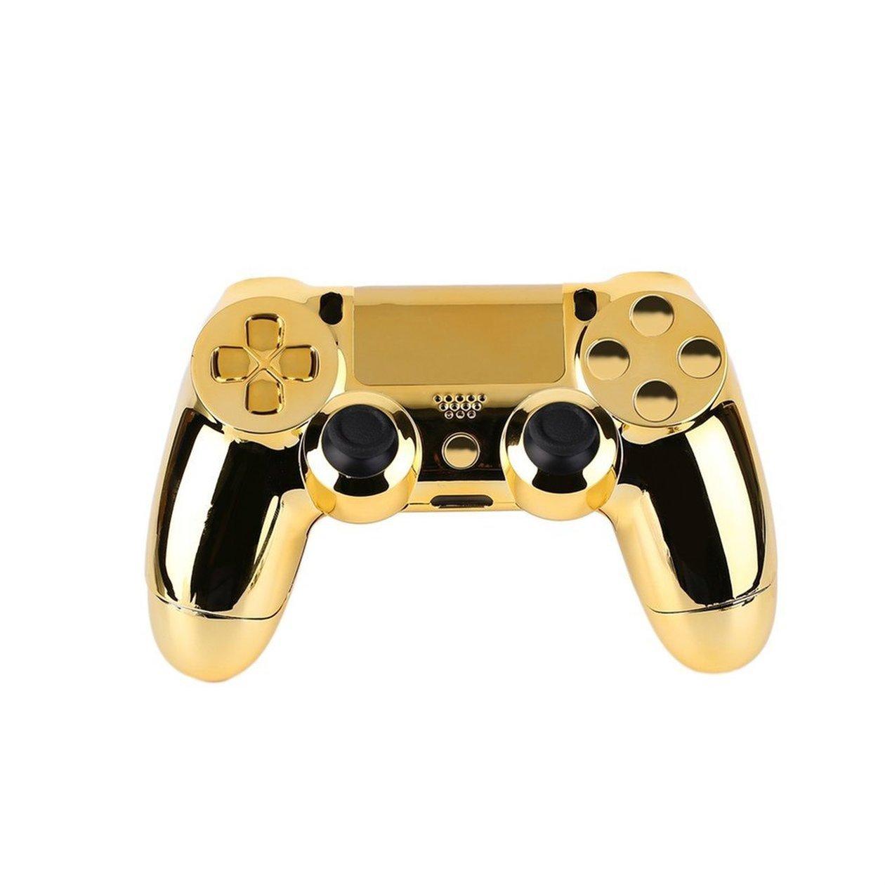 Custodia a conchiglia per custodia completa Set di pulsanti per la copertura della pelle con pulsanti completi Sostituzione del kit mod per controller PS4 Playstation 4 Nastro dorato colore: oro