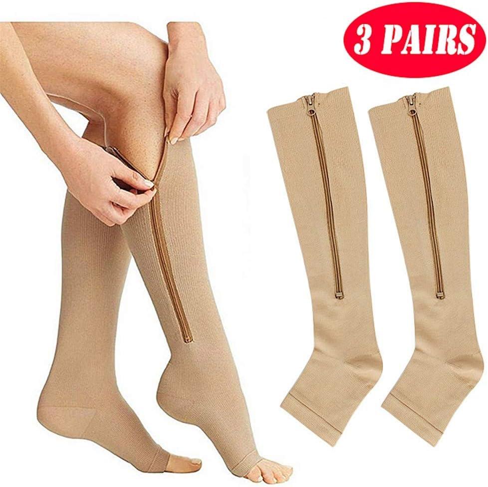 Dr.FITNESS 3 Paires Fermeture /Éclair Chaussettes de Compression de Genou Prend en Charge Bas de Jambe Bout Ouvert Unisexe 15-25 mmHg