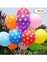 GuassLee 50Ct 12 Inch 2.8g Polka Dots Latex Helium Balloon Thickening Balloons for Birthday Wedding Party Festival Decorations