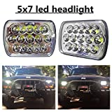 "(2 Pcs) DOT approved 5"" x 7"" 6x7inch Rectangular LED Headlights for Jeep Wrangler YJ Cherokee XJ Trucks 4X4 Offroad Headlamp Replacement H6054 H5054 H6054LL 69822 6052 6053"